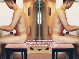 Asian Wretch Tyler Wu Bringing Off Piano Naked